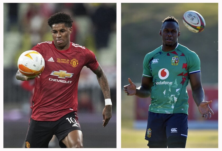 """FILE - This combo of file photos shows at left, Manchester United's Marcus Rashford during the Europa League final soccer match between Manchester United and Villarreal in Gdansk, Poland, Wednesday, May 26, 2021 and at right, British and Irish Lions' lock Maro Itoje in a training session in Sandton, South Africa, Monday, July 5, 2021. Britain's education secretary said Wednesday Sept. 8, 2021, that he had made a """"genuine mistake"""" by mixing up two Black sportsmen known for their efforts to demand more government help for poor children. (Michael Sohn, Pool/Christiaan Kotze, Pool, File)"""