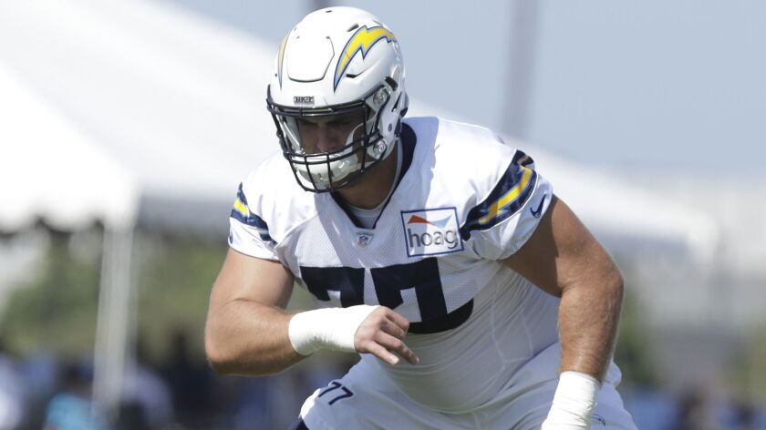 COSTA MESA, CA -- AUGUST 13, 2018: Los Angeles Chargers guard Forrest Lamp during training camp at J