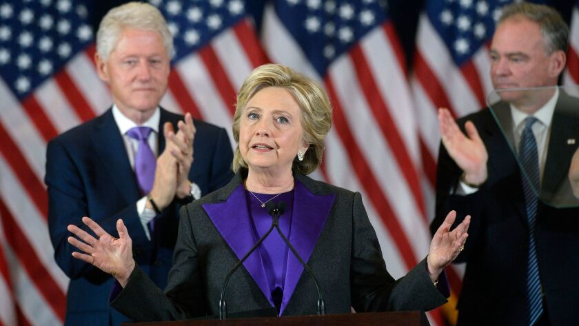 Hillary Clinton addresses her staff and supporters in New York City