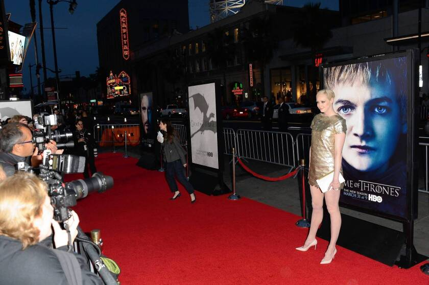 Actress Gwendoline Christie arrives at the premiere of HBO's 'Game Of Thrones' Season 3 at TCL Chinese Theatre.