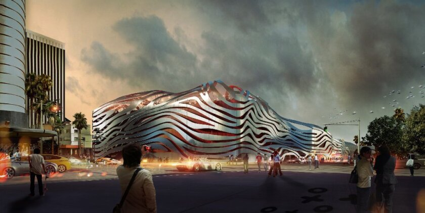 A rendering of the Petersen Automotive Museum at the intersection of Wilshire and Fairfax on the Miracle Mile.