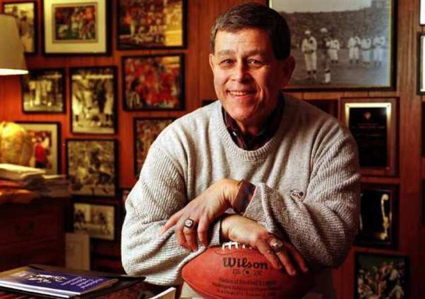 """Jerry Markbreit in his home in 1999. He says the NFL wanted him and eight other officiating trainers to train replacements for locked-out game officials, """"which we would absolutely not do."""""""