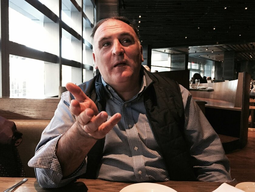 """This Oct. 26, 2015 photo shows chef Jose Andres at the Time Warner Center in New York. Andres turned his culinary adventures in Haiti into a one-hour film special airing on PBS stations this fall called """"Undiscovered Haiti with Jose Andres."""" Andres, who is known for his Jaleo tapas restaurants in W"""
