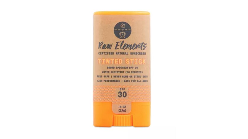 Raw Elements Stash this ultra hydrating, tinted face stick (SPF 30) ? made with sunflower oil, cocoa