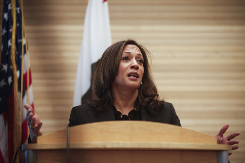 California Atty. Gen. Kamala D. Harris is planning a trip to Mexico this spring to address transnational gangs. Above, she gives a speech in Los Angeles in October.