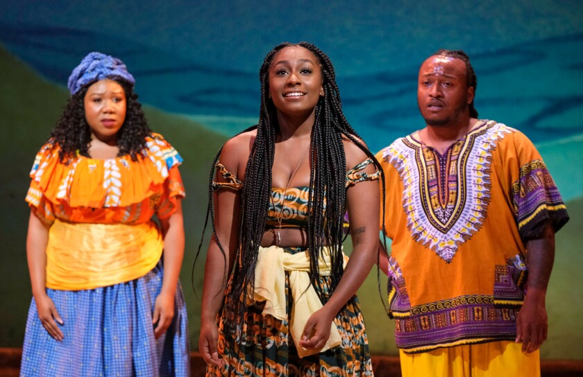 """Patricia Jewel, Brooke Henderson and Leo Ebanks in Moonlight Stage Productions' """"Once on This Island"""""""