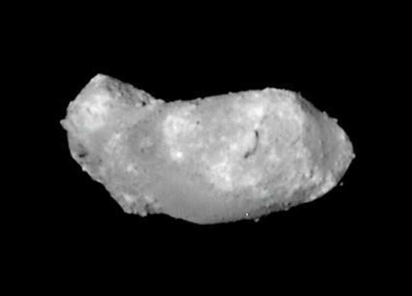 This Monday, Sept. 12, 2005 photo provided by Japan Aerospace Exploration Agency shows an asteroid named Itokawa photographed by the Hayabusa probe. On Wednesday, March 25, 2015, NASA announced it is aiming to launch a rocket to an asteroid in five years and grab a boulder off of it - a stepping stone and training mission for an eventual trip sending humans to Mars. Itokawa, 2008 EV5 and Bennu are the candidates for the mission. (AP Photo/Japan Aerospace Exploration Agency)