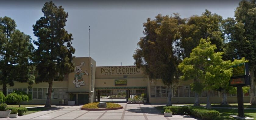 A teacher at Long Beach Polytechnic High School has been placed on paid administrative leave for the second time in a month while the Long Beach Unified School District investigates complaints made against her.