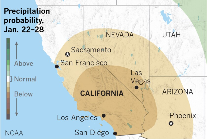Map showing below-average precipitation forecast for Southern California
