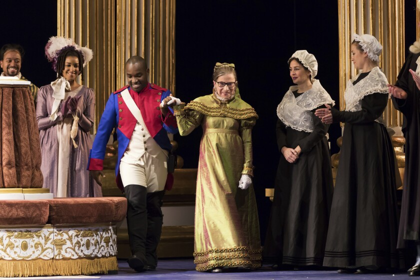 """Justice Ruth Bader Ginsburg in a dress rehearsal of Donizetti's """"The Daughter of the Regiment"""" at Washington National Opera."""