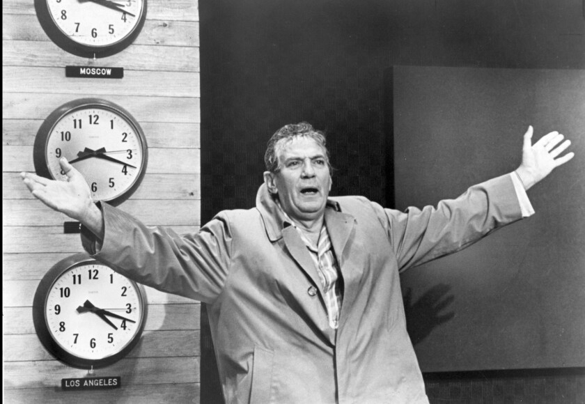 """Peter Finch portrayed """"mad as hell"""" news anchor Howard Beale in the 1976 satire """"Network."""""""