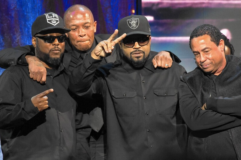 Surviving N.W.A members MC Ren, Dr. Dre, Ice Cube, DJ Yella celebrate their entrance into the Rock and Roll Hall of Fame during the induction ceremony at the Barclays Center in New York on April 8.