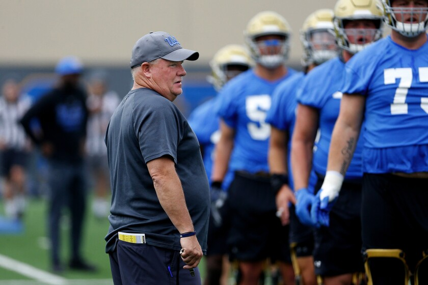 Coach Chip Kelly gets ready to run the Bruins through practice at Wasserman Football Center on July 31.