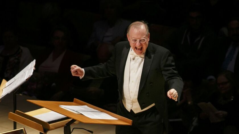 LOS ANGELES, CALIF. -- WEDNESDAY, MAY 11, 2016: Conductor Nicholas McGegan shows excitement on stage