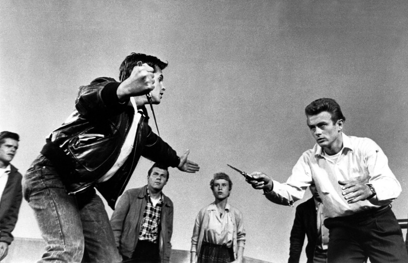"""Corey Allen, left, and James Dean in the 1955 movie classic, """"Rebel Without a Cause."""""""