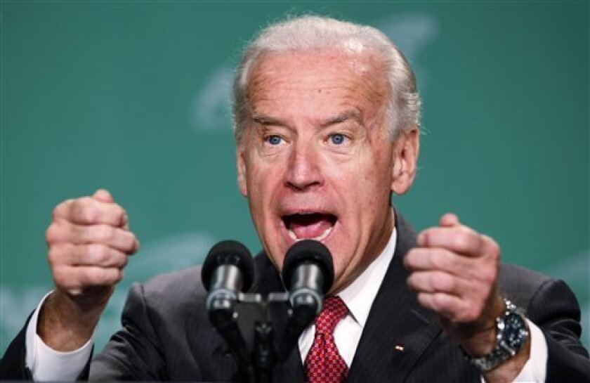 Vice President Joe Biden addresses the American Federation of State, County and Municipal Employees (AFSCME) at their 2009 Legislative Conference in Washignton, Tuesday, May 12, 2009. (AP Photo/Haraz N. Ghanbari)