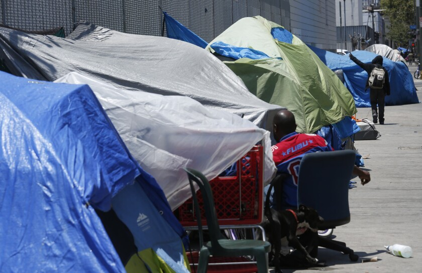 Proposition HHH is a bond measure that would raise up to $1.2 billion to help pay for housing for chronically homeless people. Above, an encampment in downtown Los Angeles.