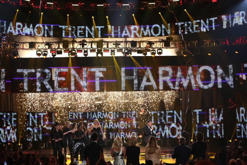 """Trent Harmon, center right, was crowned the victor on the series finale of """"American Idol'"""" in 2016. The long-running singing competition has been rebooted by ABC -- but can it find a viable recording artist?"""