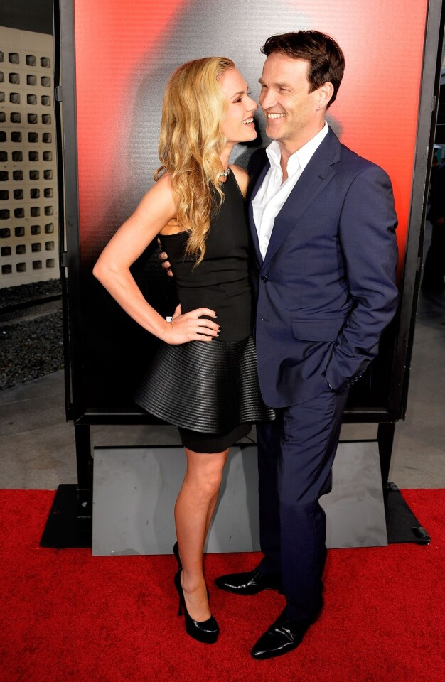 "Stars Anna Paquin and her real-life husband, Stephen Moyer, attend ""True Blood's"" season 6 premiere."