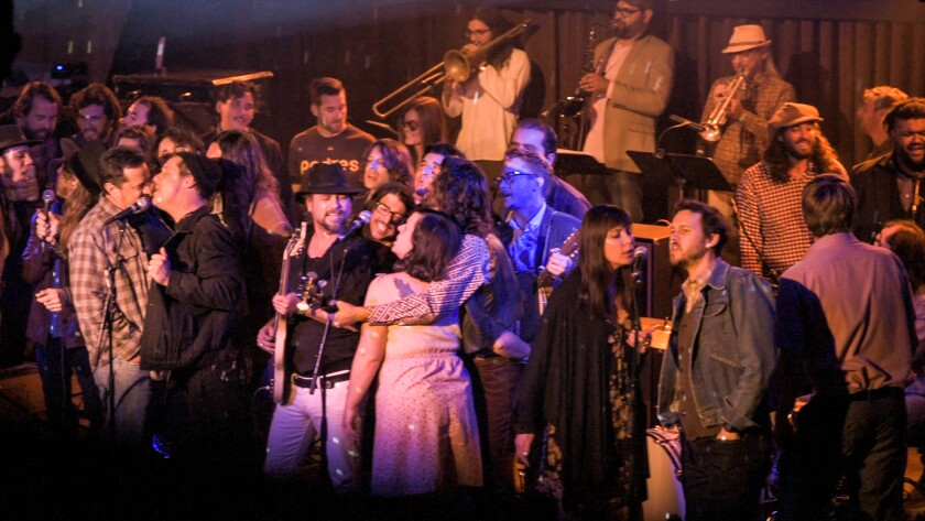 "The San Diego Band Mrs. Henry and several dozen of their musical pals are shown at the grand finale of their 2017 ""Mrs. Henry The Last Waltz"" concert at the Belly Up. That performance was recorded and filmed for a new double-album and film documentary."