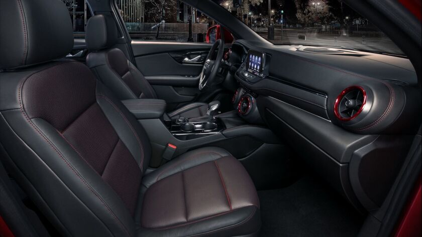 The 2019 Chevrolet Blazer RS interior features a driver-centric interior along with red accents and