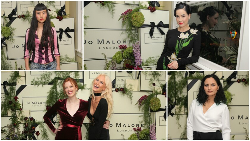 Asia Chow, left clockwise, in Vivienne Westwood and PRPS, Dita Von Teese in Dolce & Gabbana, Rain Phoenix in Rosetta Getty, and Karen Elson and Poppy Delevingne, both in Diane von Furstenberg, attend the Jo Malone Girl event at the Chateau Marmont.