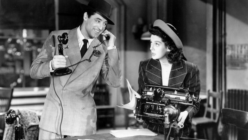 "Cary Grant and Rosalind Russell in ""His Girl Friday."""