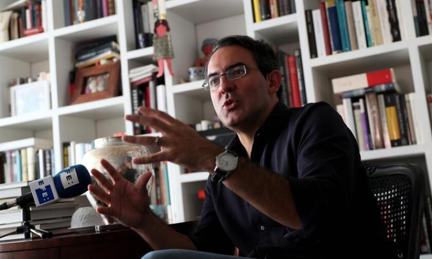 """For Colombian author Juan Gabriel Vasquez, seen here during an interview with EFE on Nov. 26, 2018, it has been 17 years since he published his first book of short stories, """"Lovers on All Saints' Day,"""" and he now returns to the genre with """"Canciones para el Incendio"""" (Songs for the Fire). EFE-EPA/Mauricio Dueñas Castañeda"""