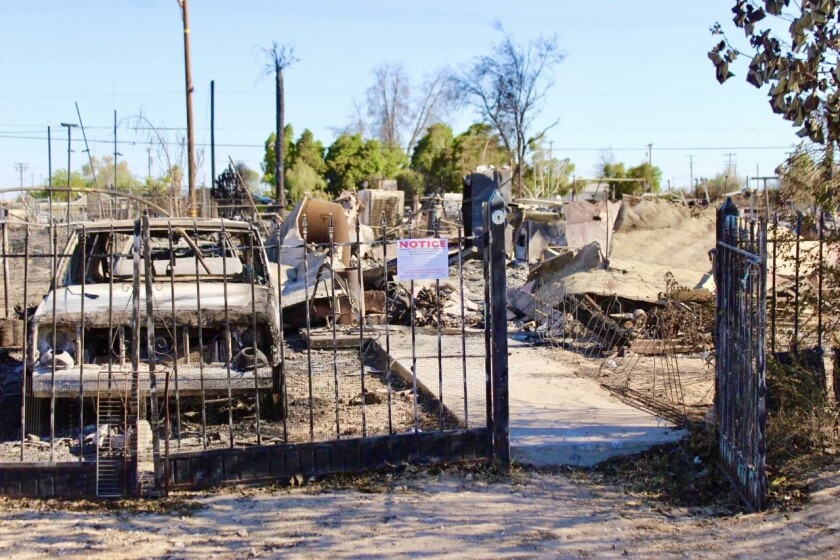 Wildfire destruction in Niland, Calif. on June 28, 2020