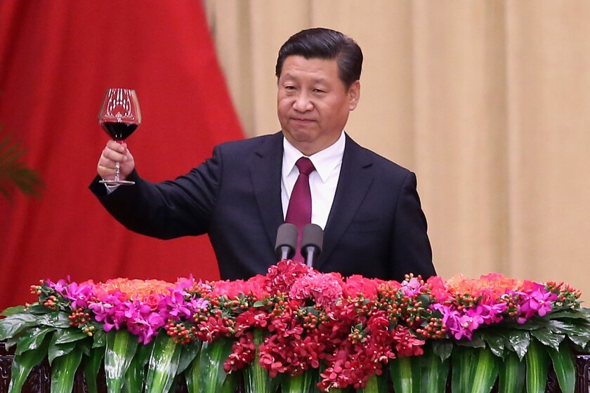 Chinese President Xi Jinping, shown giving a toast Sept. 30 in Beijing during a reception marking the 65th anniversary of the founding of the People's Republic of China, gave a recent shout-out to a pro-China blogger.