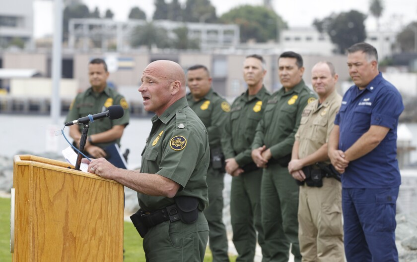 Aaron Heitke, chief patrol agent for the Border Patrol in San Diegor, announces the agency's new San Diego Marine Unit.