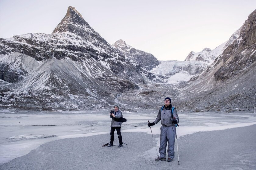 A 2016 file photo of the Ferpecle glacier, in Ferpecle, canton of Valais, Switzerland. New research shows that global warming could make Europe colder.