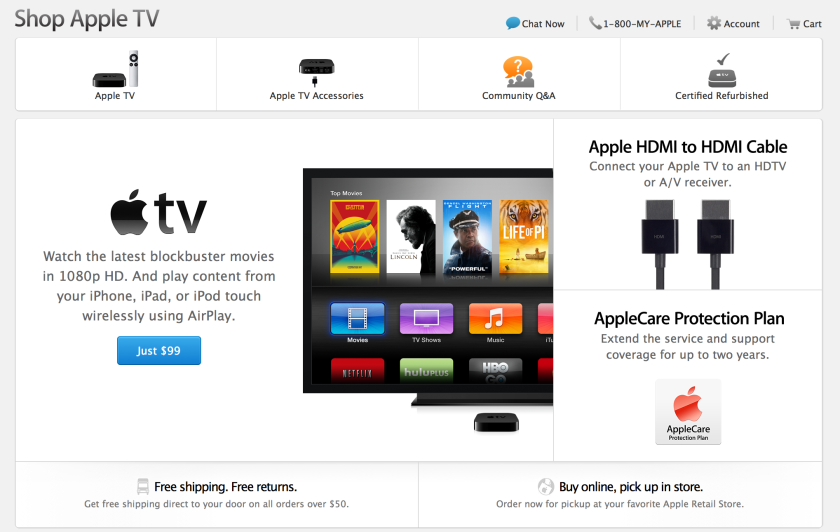 Apple gave Apple TV its own section in a recent update to the company's online store.