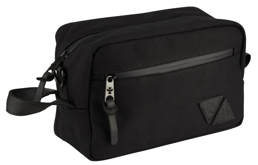 A rectangular black bag with a side-zippered pouch.