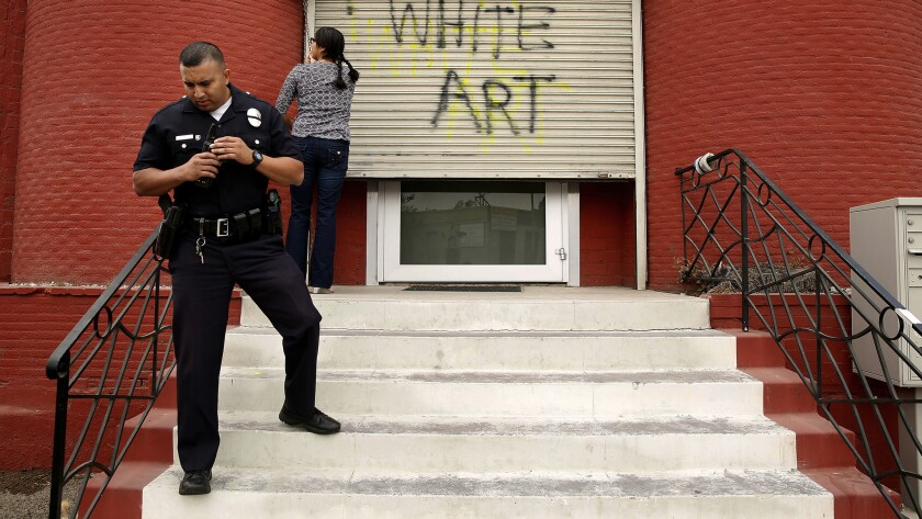 Police investigate vandalism at the Nicodim Gallery in Boyle Heights in October.
