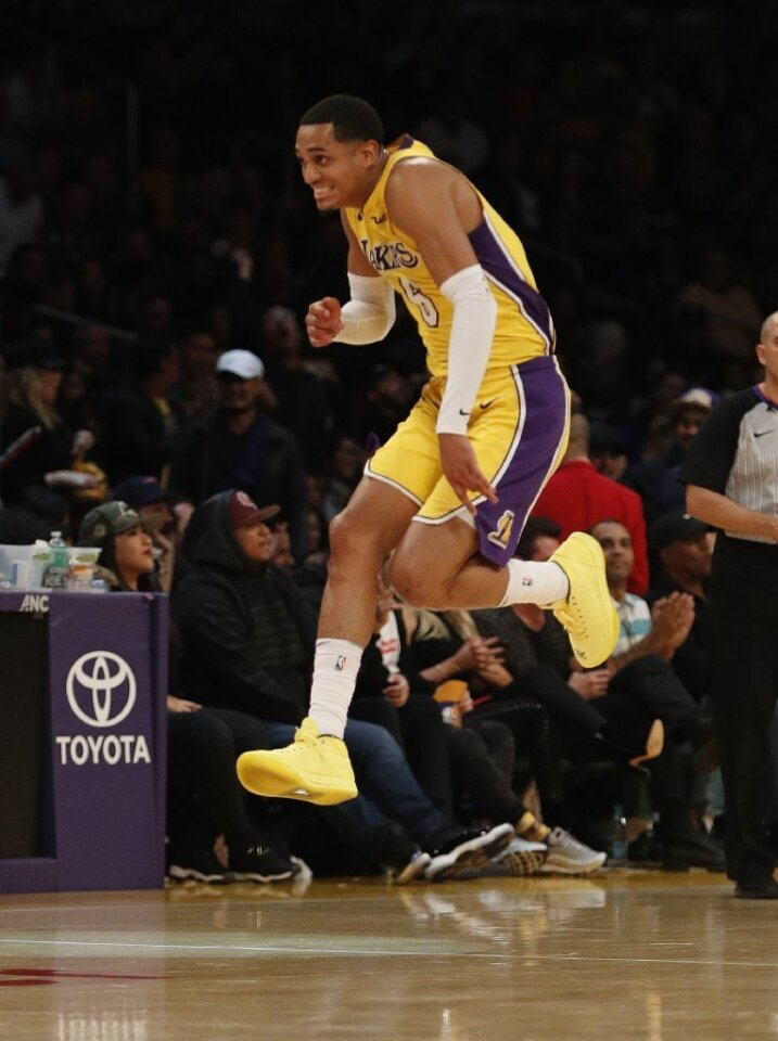 LOS ANGELES, CA - JANUARY 19, 2018: Los Angeles Lakers guard Jordan Clarkson (6) reacts after his three-pointer seals the win against the Indiana Pacers 99-86 at Staples Center on January 19, 2018 in Los Angeles, California. Clarkson scored 33 points.(Gina Ferazzi / Los Angeles Times)
