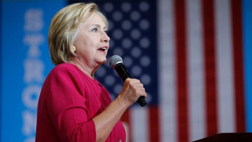 Hillary Clinton speaks at West Philadelphia High School in Pennsylvania on Aug. 16