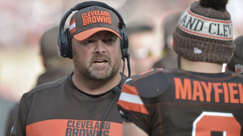 FILE - In this Nov. 4, 2018, file photo, Cleveland Browns offensive coordinator Freddie Kitchens tal