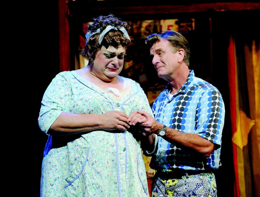 "Randall Hickman and Douglas Davis as Edna and Wilbur Turnblad in ""Hairspray"" at Moonlight Amphitheatre in 2011. They will reprise the roles at Welk Resorts Theatre this fall. CREDIT: Ken Jacques"