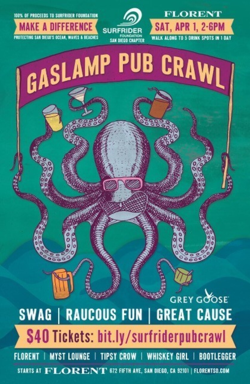 The inaugural Gaslamp Pub Crawl will benefit the San Diego Surfrider Foundation. (Courtesy photo)
