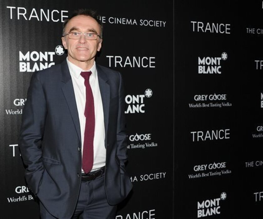 """FILE - In this April 2, 2013 file photo, Director Danny Boyle attends Fox Searchlight Pictures' premiere of """"Trance,"""" hosted by The Cinema Society with Montblanc, at the SVA Theater, in New York. """"Trance"""" opened in the U.K. on March 27 and in the U.S. for a limited release from April 5. (Photo by E"""