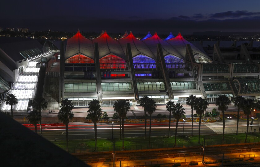 The San Diego Convention Center bathed in red, white and blue lights in honor of the Olympics.