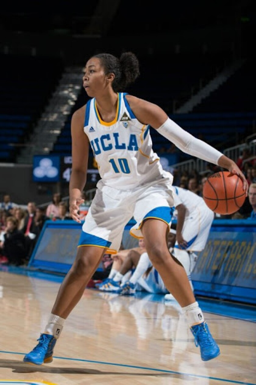 Kacy Swain controls the ball during a UCLA women's basketball game.
