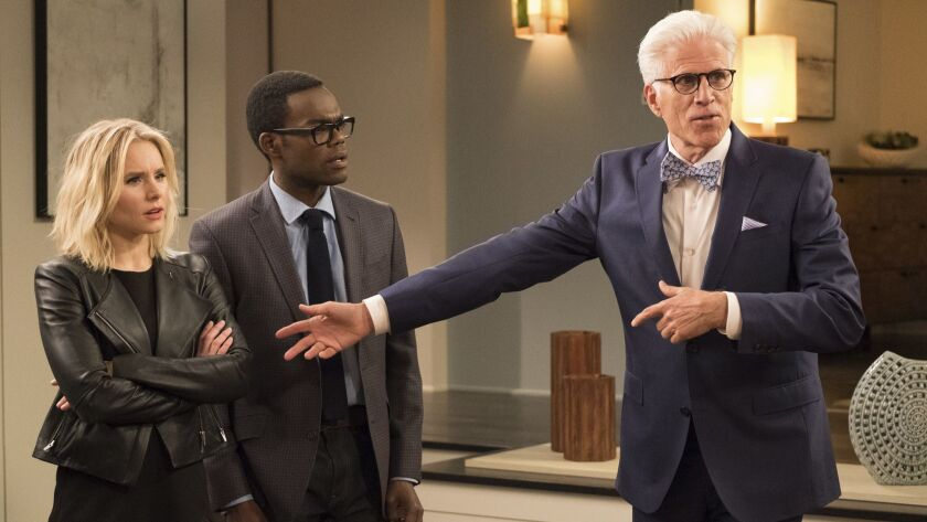 "Kristen Bell as Eleanor, William Jackson Harper as Chidi and Ted Danson as Michael in ""The Good Place."""