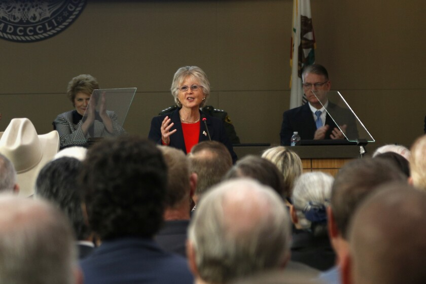 San Diego County Supervisor Dianne Jacob gave the State of the County Address and spoke about road maintenance.