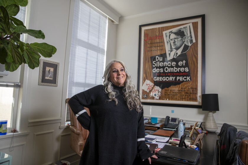 "Writer and TV producer Marta Kauffman, creator and showrunner of Netflix's ""Grace and Frankie,"" at her Paramount Studios office in Los Angeles."