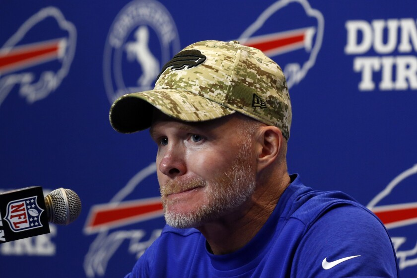 Buffalo Bills head coach Sean McDermott meets with reporters following a 23-16 loss to the Pittsburgh Steelers in an NFL football game in Orchard Park, N.Y., Sunday, Sept. 12, 2021. (AP Photo/Joshua Bessex)