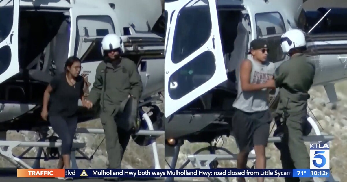 A dozen Downey High School students stranded on Mt. Baldy are airlifted to safety