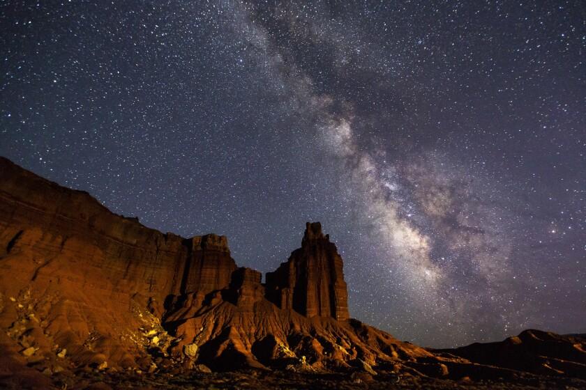 Milky Way over Chimney Rock at Capitol Reef National Park, Utah.