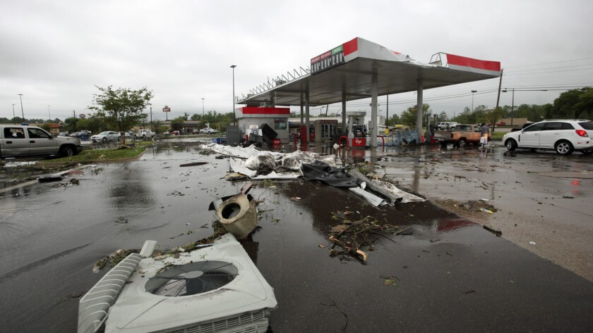 A gas station is damaged following severe weather, Saturday, April 13, 2019 in Vicksburg, Miss. Auth